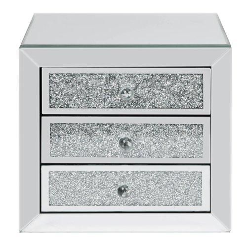 Mirror Glass & Crystal 3 Drawer Jewellery Box