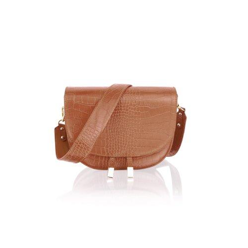 """Woodland Leather 9.0"""" Tan Single Shoulder Carry Handle Bag Tassle Front"""