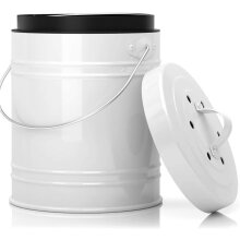 Oversized 5 Liter 1.3 Gallon Kitchen Compost Bin with Plastic Liner & Charcoal Filters In White