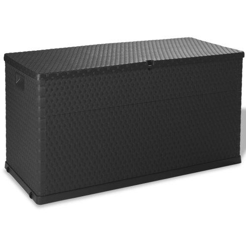 vidaXL Garden Storage Box 420 L Anthracite Lockable Outdoor Cushion Chest