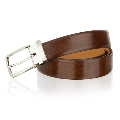 (XXXL) Woodland Leather Brown 35mm Classic Adjustable Feather Edge Belt Silver Metal Buckle