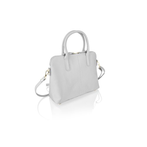 """Woodland Leather Grey Tote Bag 12.0"""" Carry Handles"""