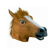 RUBBER HORSE HEAD MASK PANTO PARTY FANCY DRESS COSPLAY HALLOWEEN ADULT COSTUME
