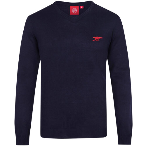 Arsenal FC Official Football Gift Mens Cannon Crest Knitted V-Neck Jumper