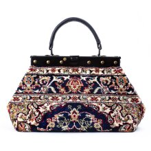 EXQUISITE Palace Navy - classic Mary Poppins Victorian CARPET BAG