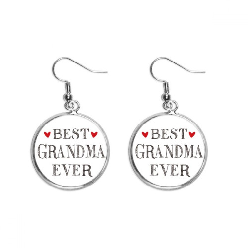 Best grandma ever Quote Relatives Ear Dangle Silver Drop Earring Jewelry Woman