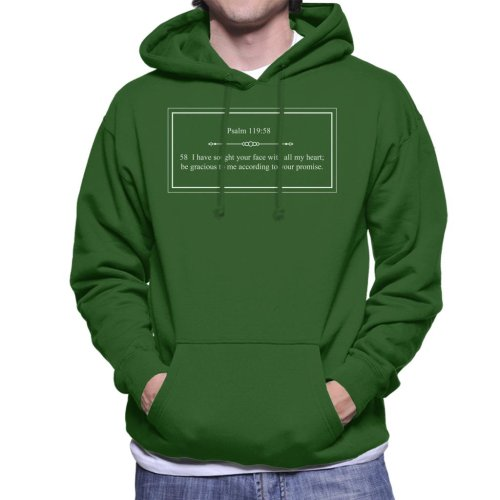 (Large, Bottle Green) Religious Quotes Be Gracious Psalm 119 58 Men's Hooded Sweatshirt
