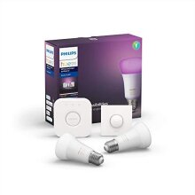 Philips Hue White and Colour Ambiance Starter Kit: Smart Bulb 2x Pack LED [E27 Edison Screw] Including Hue Button + Bridge, Works with Alexa, Google