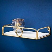New Deco Glamour Shelf with Gold Ring Bedroom Storage Shelf 30cm-White