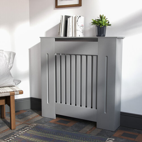 Small 780mm MDF Wood Radiator Cover Grill Cabinet Matte Light Grey
