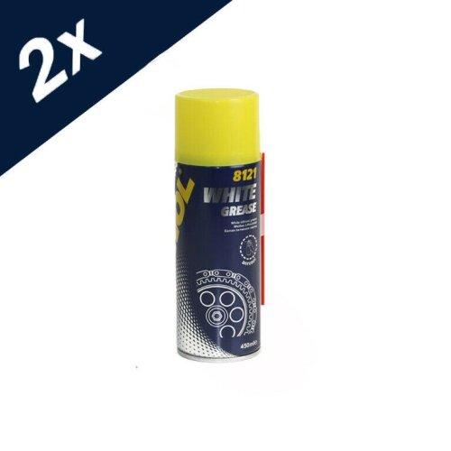 8121 MANNOL 2 x White Grease 450ml Lubrication Spray Can Aerosol