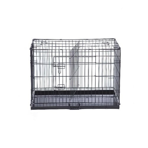 (XX-Large, Black) Lockable Dog Cage With Removable Divider | Puppy Crate