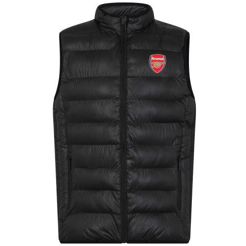 (Black Zip, 12-13 Years) Arsenal FC Official Football Gift Boys Padded Body Warmer Gilet