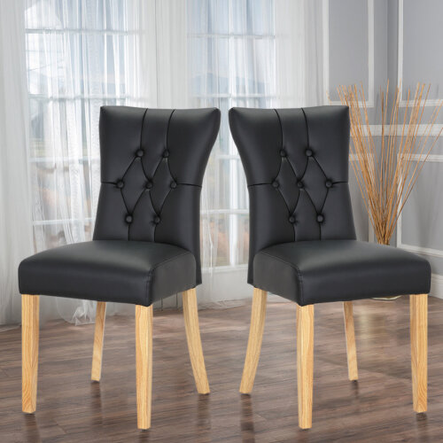 2pcs Modern Faux Leather Dining Room Chairs Button High Back Padded Kitchen Chairs