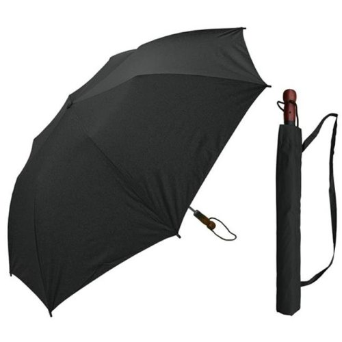 RainStoppers W009B 58 in. Collapsible Sport, Black Single Canopy Umbrella with Wood Handle, 6 Piece