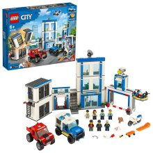 LEGO 60246 City Police Station Building Set with 2 Truck Toys, Light & Sound Bricks, Drone and Motorbike
