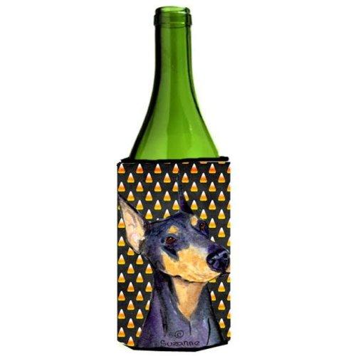 Doberman Candy Corn Halloween Portrait Wine bottle sleeve Hugger - 24 Oz.
