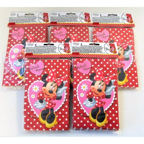 Pack 30 Disney Minnie Mouse Paper Party Bags With a Sticker Seal - Favour bag