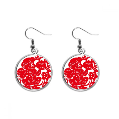 Zodiac Monkey Papercut Chinese Flowers Ear Dangle Silver Drop Earring Jewelry Woman