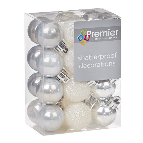 Christmas Tree Decoration 24 30mm Shatterproof Baubles - Silver & White