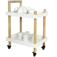 Wood Two Tier Trolley - Drinks / Tea / Crafts - White / Natural