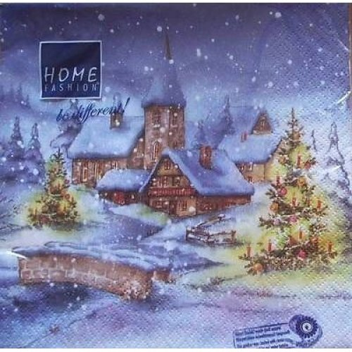 4 x Christmas Paper Napkins - Christmas Village - Ideal for Decoupage