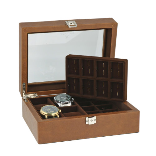 16 Pair Cufflinks 4 Watch Box Genuine Cognac Brown Leather by Aevitas