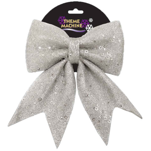 Christmas Tree Decoration 25cm Glitter & Sequin Bow - Silver