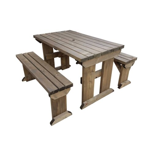 (5ft, Rustic Brown) Picnic Table and Bench Set Wooden Outdoor Garden Furniture, Aspen Heavy Duty