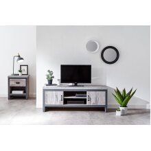 Boston Urban Design Living Room Furniture - Grey 2 Door & Shelf TV Unit