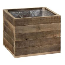 RAF Reclaimed Wood Wooden Cube Planter Flower Box Crate Pot with Plastic Liner