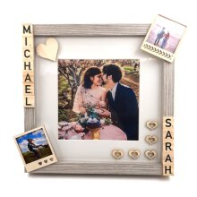 Wood Photo Frame With Name and Photos