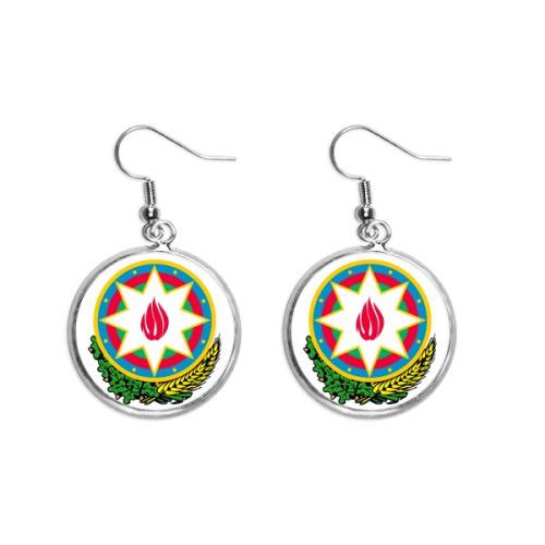 Baku Azerbaijan National Emblem Ear Dangle Silver Drop Earring Jewelry Woman