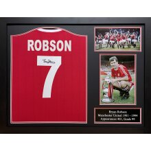 Framed Bryan Robson signed Manchester United shirt with COA & proof