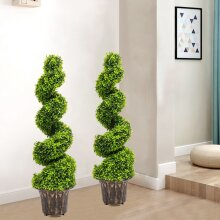 2X Large Artificial Spiral Boxwood Buxus Tower Plant Twist Topiary Potted Tree
