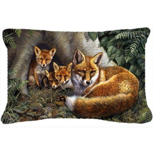 A Family of Foxes at Home Fabric Decorative Pillow