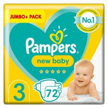 Pampers Premium Protection Size 3 Jumbo Bag (72 x Nappies) Baby Toddler