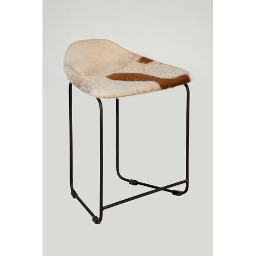 Leather Stool Cowhide pattern made from Reclaimed Metal