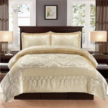 3 pcs Luxury Ivory Bedspread With 2 Pillow case