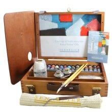 Sennelier Oil Colour Complete Set Wooden Box 15x 21ml Oil Paint Tubes
