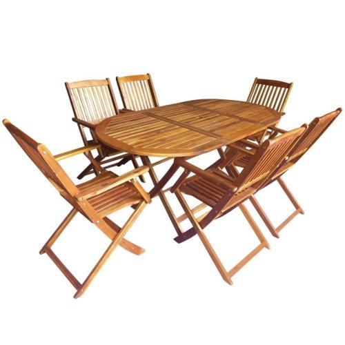 vidaXL Outdoor Dining Set 7 Pieces Solid Acacia Wood