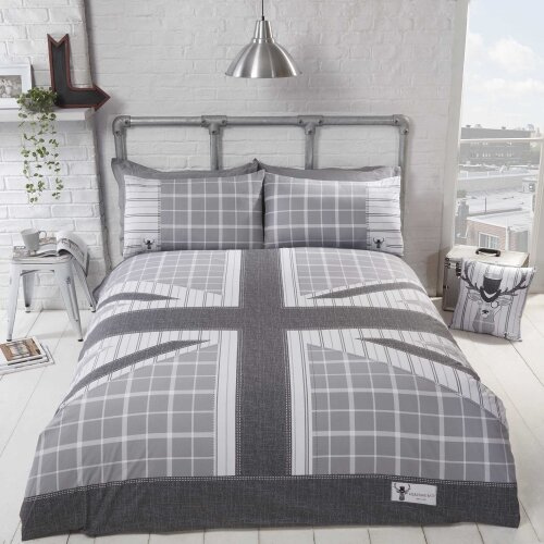 Cool Britannia Duvet Set in Grey