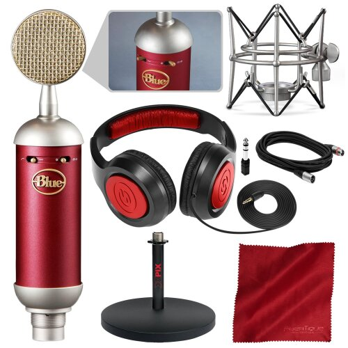 Blue Spark SL Large-Diaphragm Studio Condenser Microphone with Xpix Studio Desktop Mic Stand, Closed-Back Headphones, and Basic Bundle