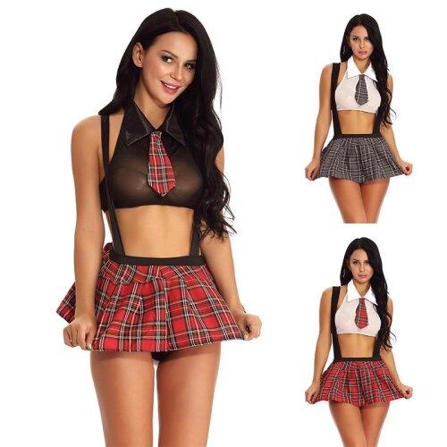Sexy Schoolgirl Cosplay Role Play Costumes Plaid Night Halloween Women Uniform