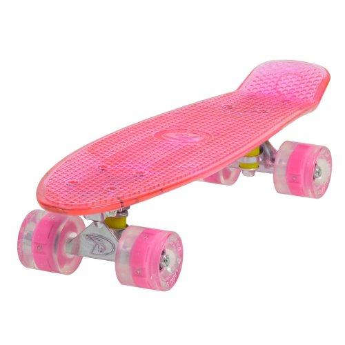 "Land Surfer Cruiser Skateboard 22"" CLEAR PINK BOARD - LED PINK WHEELS"