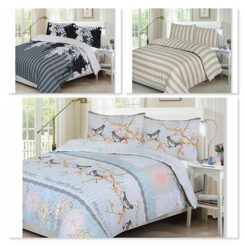 New 100% Polycotton Reversible Printed Design Duvet Quilt Cover with Pillowcases