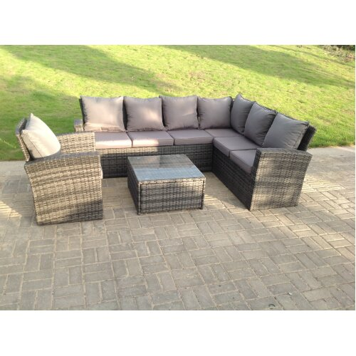 High back rattan sofa set chair coffee table  mixed grey