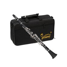 Glarry 17 Keys Flat B Black Clarinet with Two Mouthpieces Connector for Beginner Student