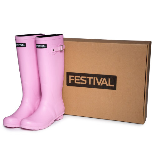(8 (Adults')) Festival Pink Womens Lined Wellington Boot Wellies