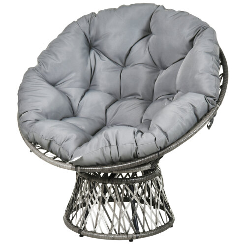 Outsunny 360 Swivel Rattan Papasan Moon Bowl Chair Round Outdoor w/ Padded